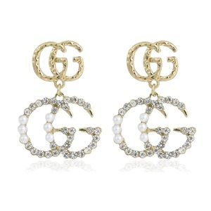 Gold double gg pearl and rhinestone earring